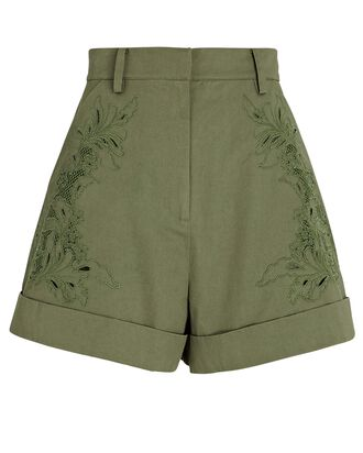 Embroidered High-Rise Shorts, OLIVE, hi-res