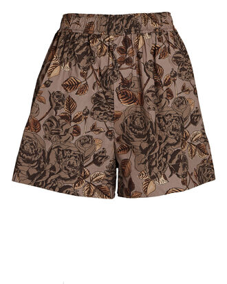 Floral Cotton Poplin Shorts, BROWN, hi-res