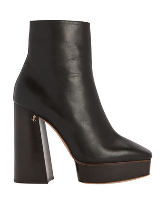 Bryn Platform Leather Booties, BLACK, hi-res