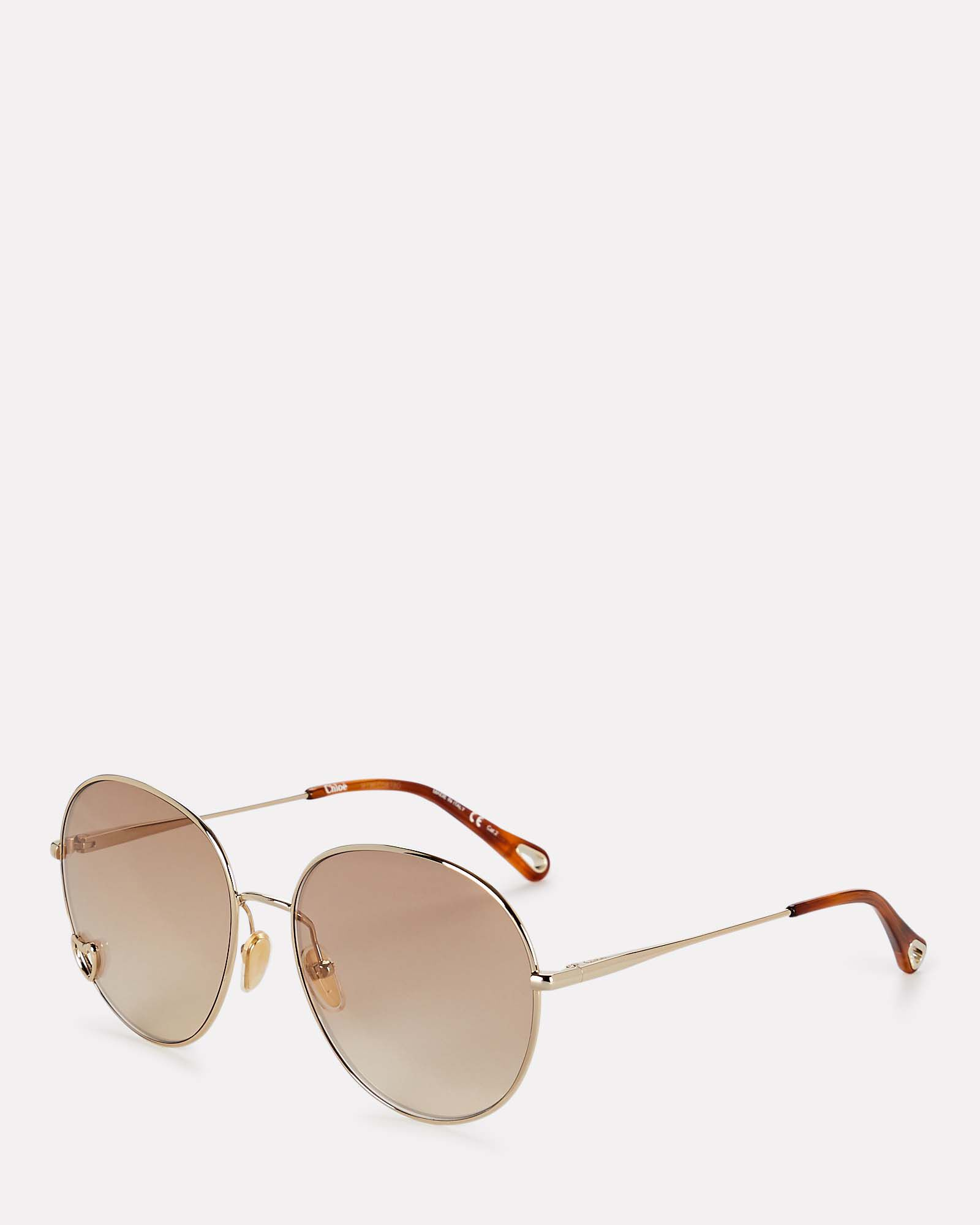 Oversized Round Wire Sunglasses, GOLD, hi-res