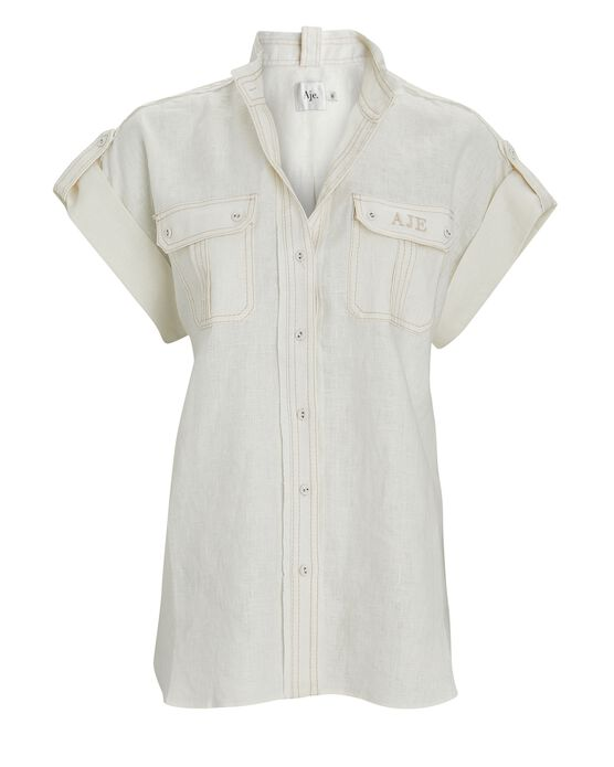 Aje Apres Linen Button-down Shirt In Ivory