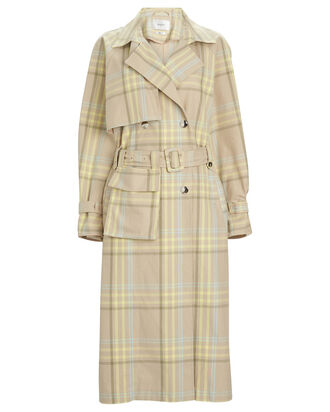 Noori Checked Cotton Trench Coat, SAND CHECK, hi-res