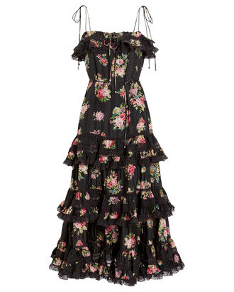 Honour Silk Tiered Tie Dress, BLACK/FLORAL, hi-res