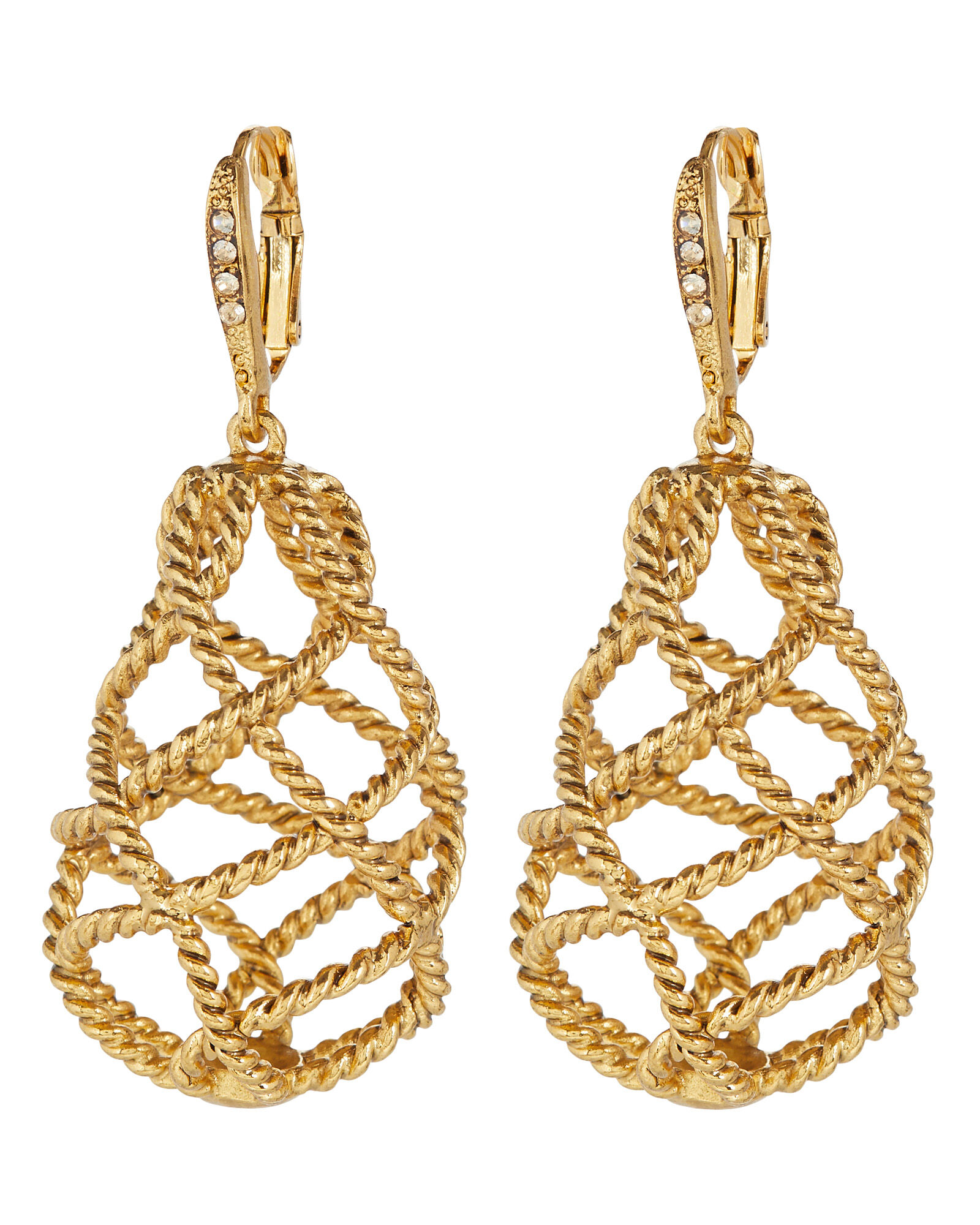 Twisted Cage Drop Earrings, GOLD, hi-res