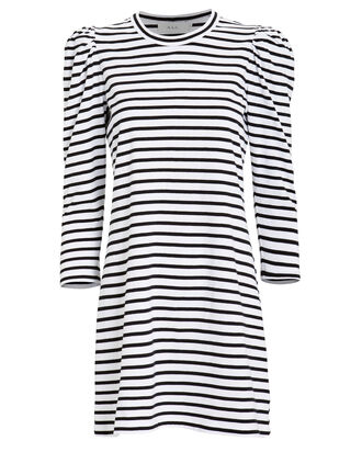 Kidman Puff Sleeve Dress, WHITE/BLACK, hi-res