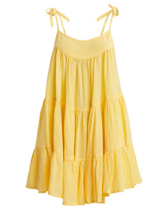 Peri Cotton Tent Dress, LEMON ZEST, hi-res