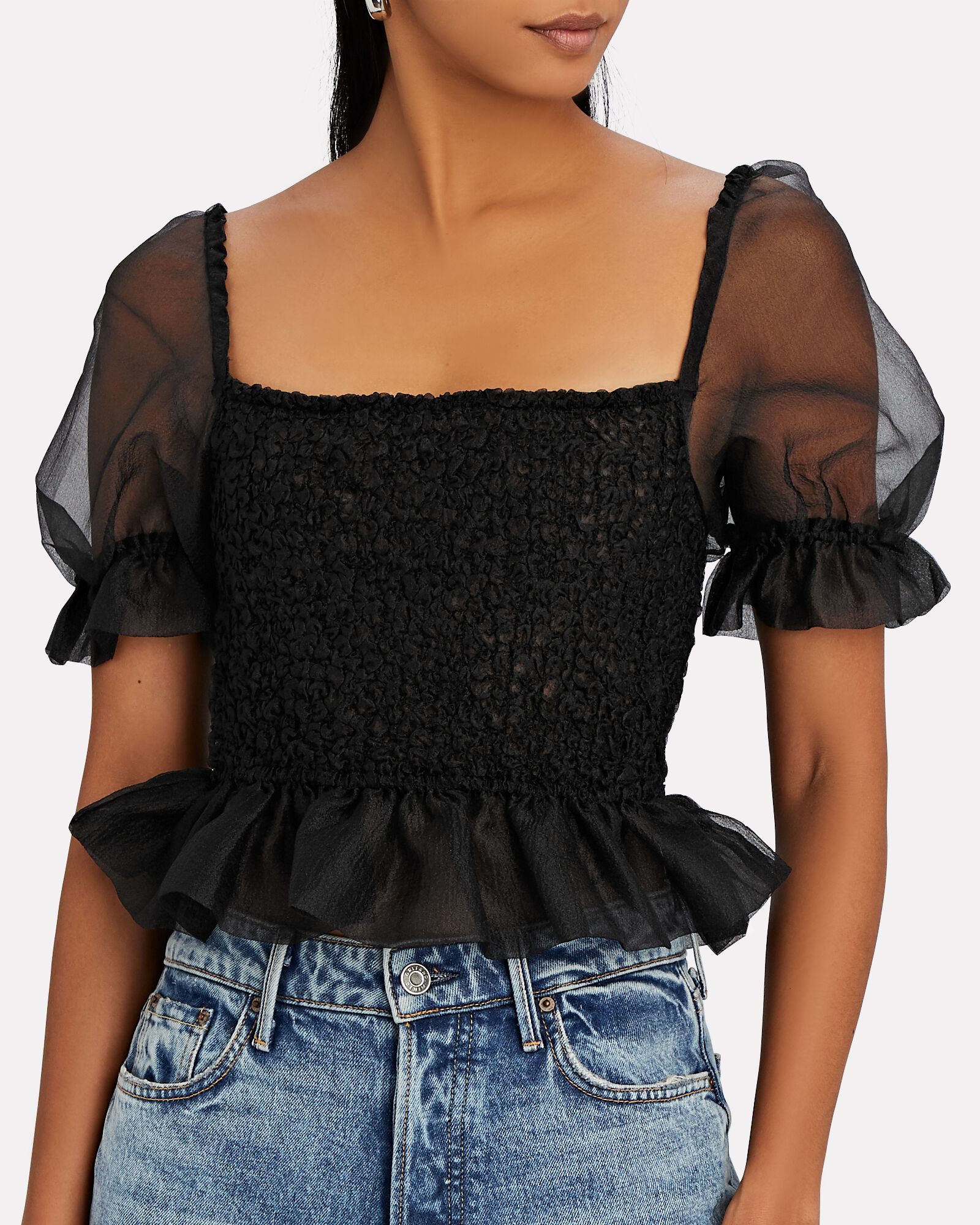 Cannon Smocked Puff Sleeve Top, BLACK, hi-res