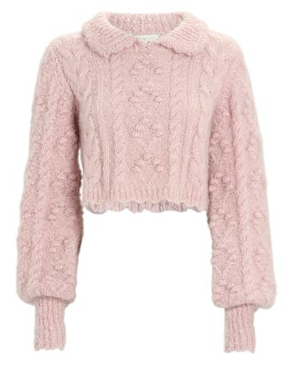 Berget Cropped Cable Knit Sweater, PINK, hi-res
