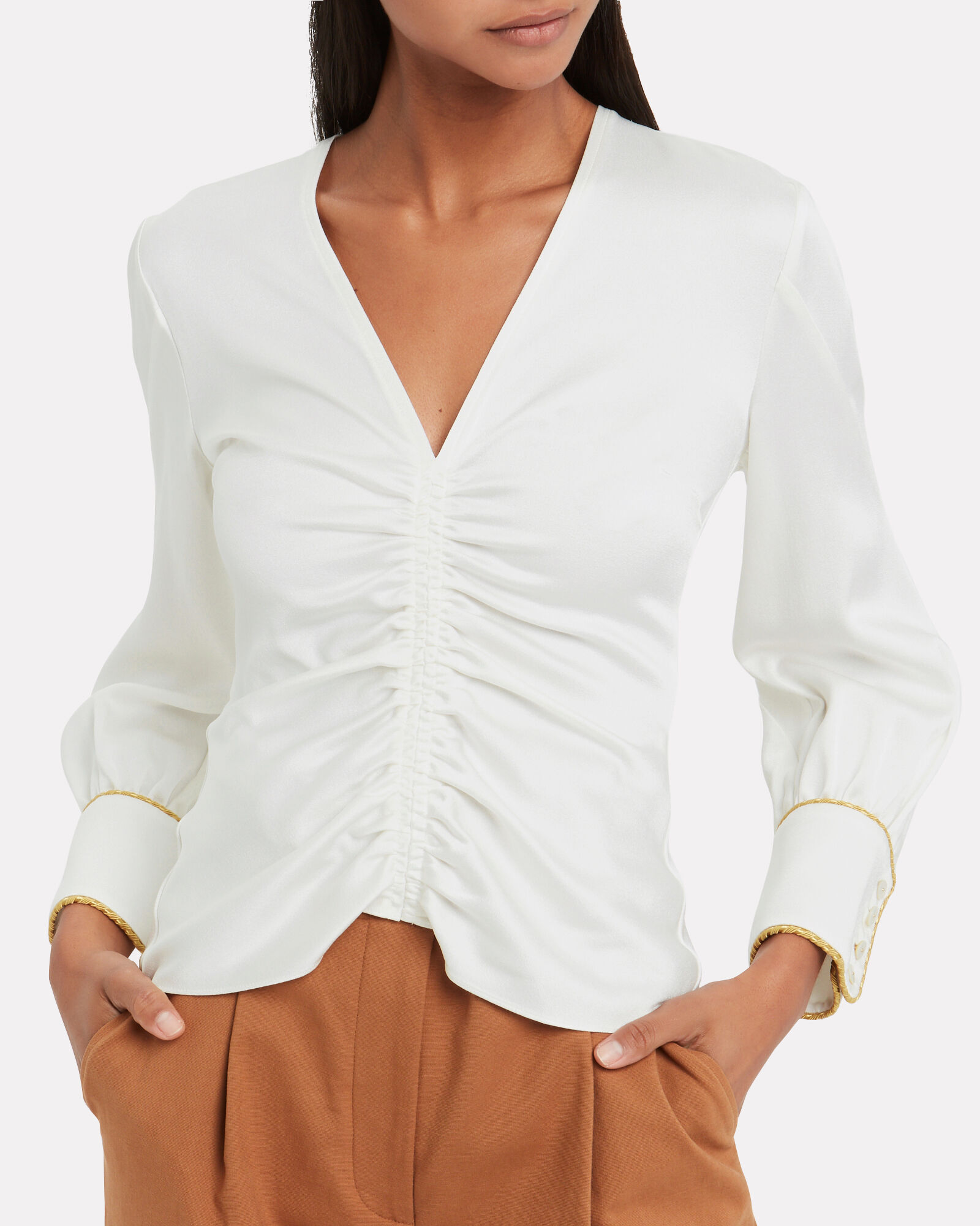 Satin Ruched Blouse, WHITE, hi-res