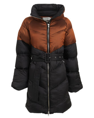 Helin Quilted Puffer Coat, GINGER/NAVY, hi-res