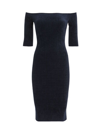 Off Shoulder Velveteen Dress, NAVY, hi-res