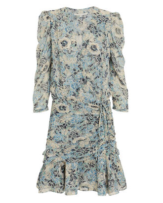 Maggie Silk Floral Wrap Dress, GREEN/BLUE FLORAL, hi-res