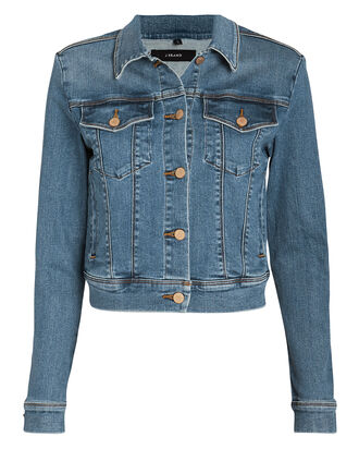 Harlow Shrunken Denim Jacket, BLUE DENIM, hi-res