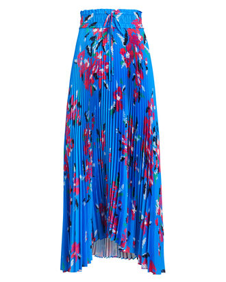 Maya Pleated Skirt, BLUE/FLORAL, hi-res
