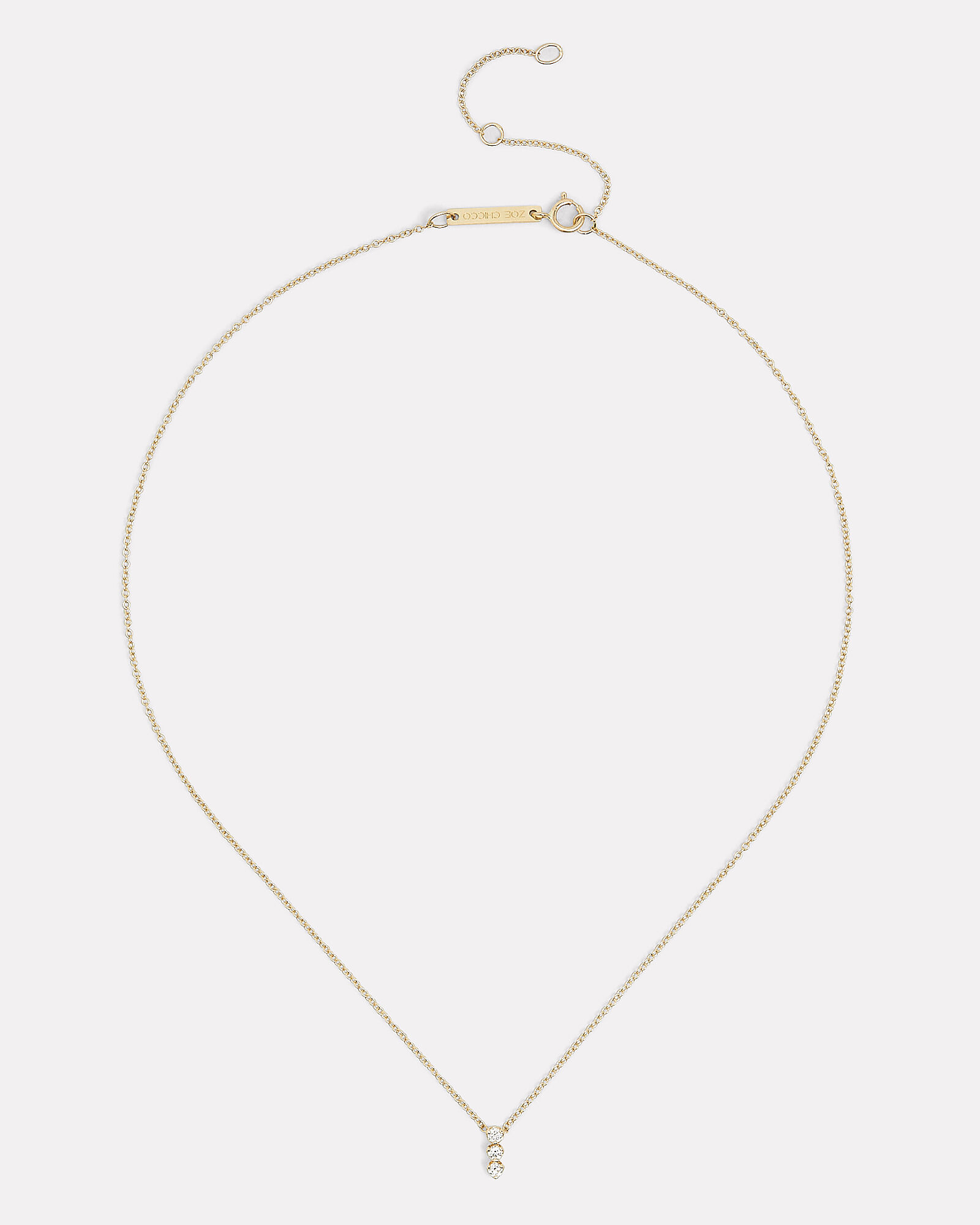 Three Vertical Diamonds Necklace, GOLD, hi-res