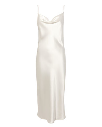 Snow White Cowl Neck Slip Dress, WHITE, hi-res