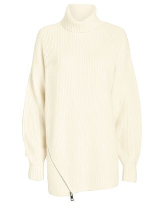 Zip Hem Cashmere Turtleneck Sweater, IVORY, hi-res
