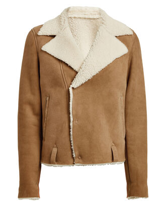 Savannah Cropped Shearling Jacket, BEIGE, hi-res