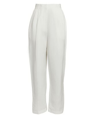 Olivia Pleated High-Rise Trousers, IVORY, hi-res