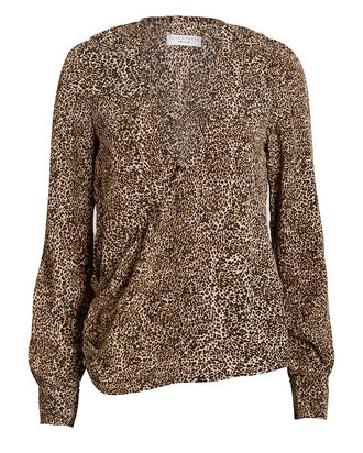 Capri Leopard Wrap Blouse, BROWN/LEOPARD, hi-res