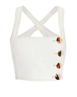 Pinafore Linen Crop Top, IVORY, hi-res