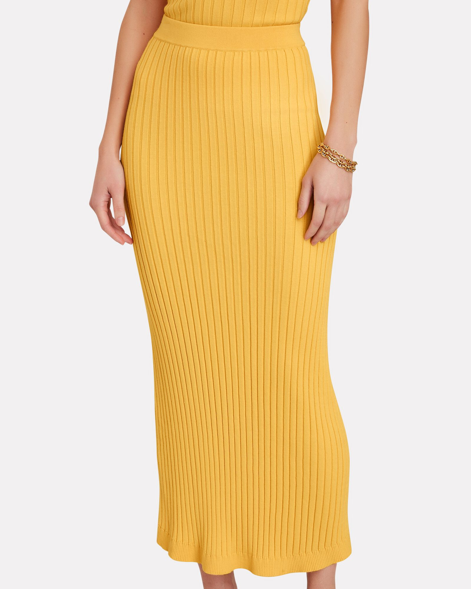 Ariana Rib Knit Midi Skirt, YELLOW, hi-res