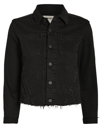 Janelle Chain Fringe Denim Jacket, BLACK DENIM, hi-res