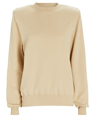 Crewneck Padded Shoulder Sweatshirt, BEIGE, hi-res
