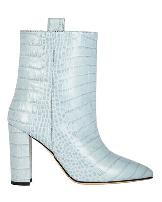 Croc-Embossed Leather Booties, LIGHT BLUE, hi-res