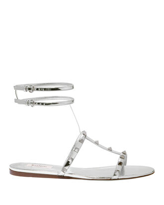 Rockstud Silver Leather Sandals, SILVER, hi-res