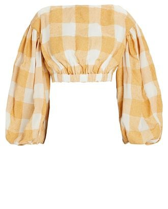 Sutherland Gingham Crop Top, YELLOW/IVORY, hi-res
