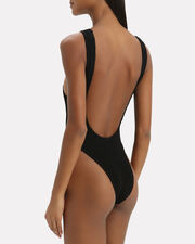 Maxam Black One Piece Swimsuit, BLACK, hi-res