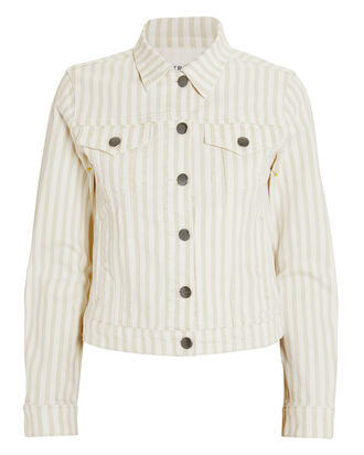 Le Vintage Courtyard Striped Denim Jacket, WHITE/BEIGE, hi-res
