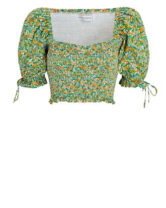 Lisanza Floral Crepe Crop Top, GREEN, hi-res