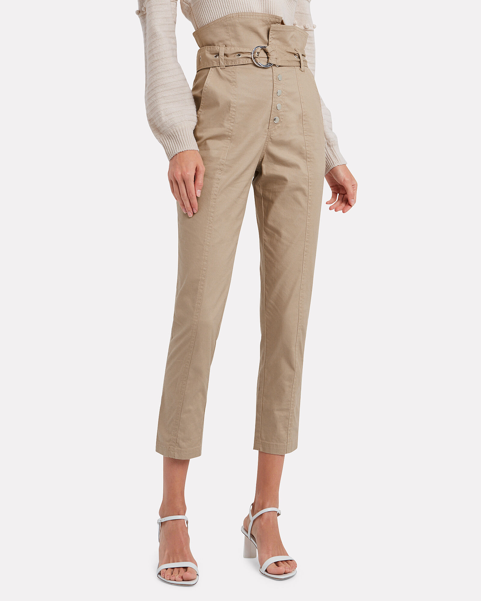 Gia Belted Cropped Pants, SAND DUNE, hi-res