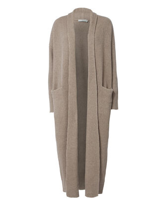 Open Front Sweater Robe, BEIGE, hi-res