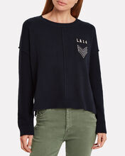 Stafford Cotton Cashmere Embroidered Sweater, NAVY, hi-res