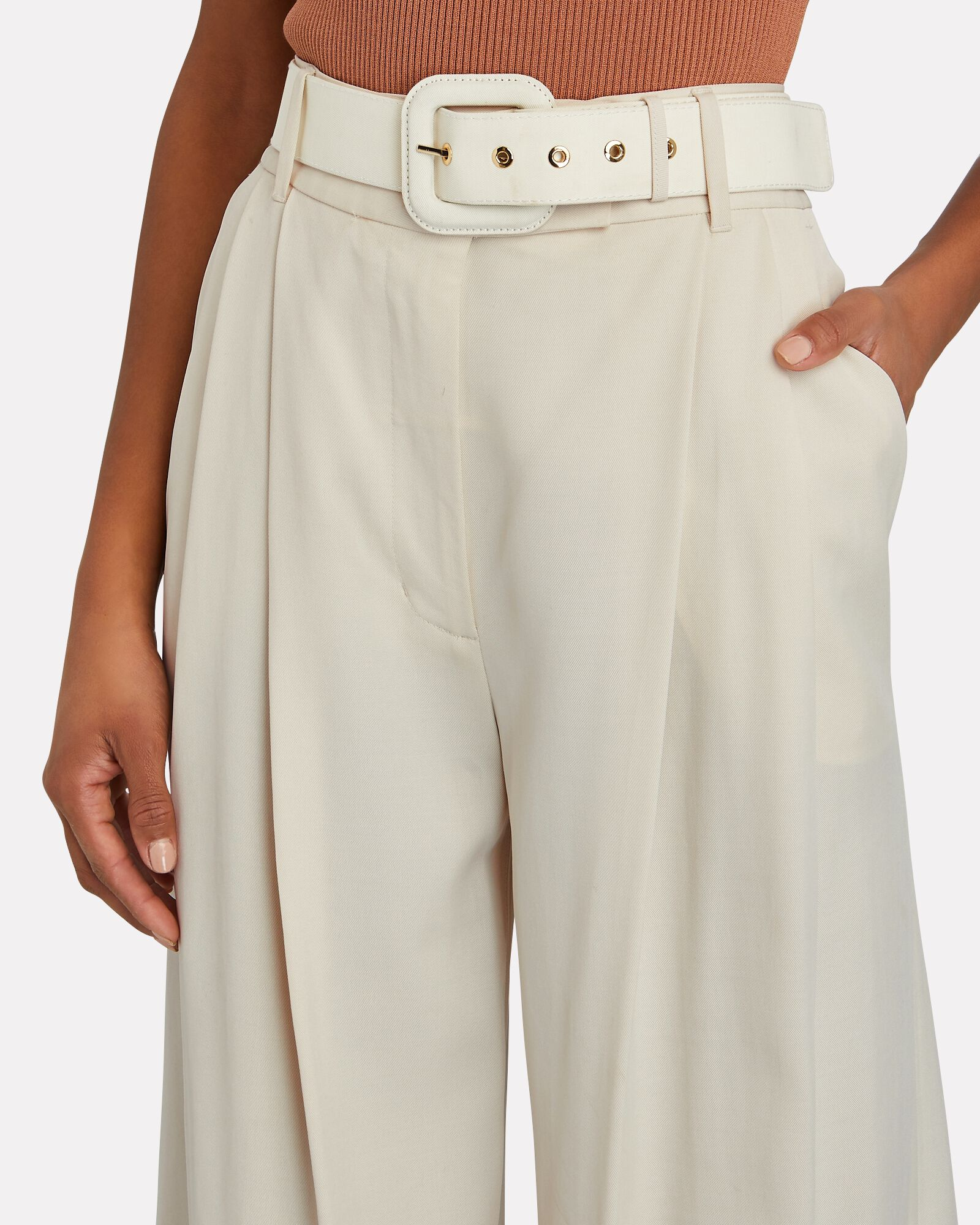 Botanica Belted Wide-Leg Trousers, IVORY, hi-res