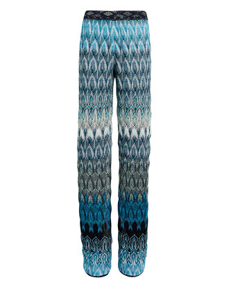 Blue Zig Zag Knit Pants, BLUE, hi-res