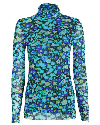 Floral Mesh Turtleneck Top, AZURE BLUE, hi-res