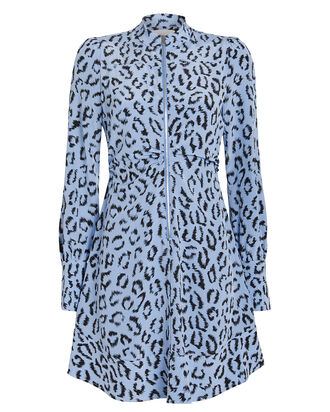 Marcella Zip-Front Silk Leopard Dress, BLUE-MED, hi-res