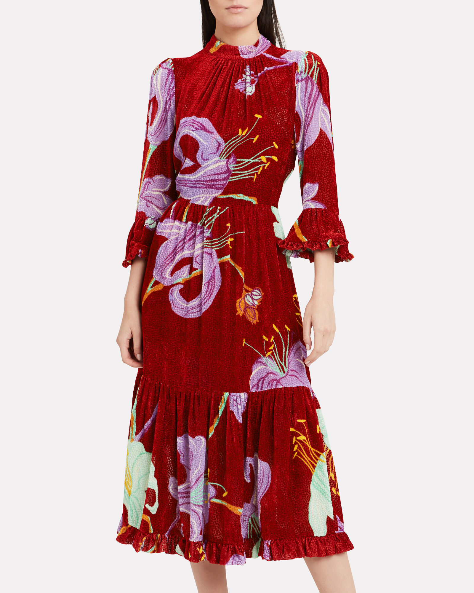 Visconti Crepe Floral Dress, RED/ORCHID, hi-res