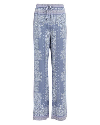 Dominique Paisley Print Pants, BLUE/WHITE PAISLEY, hi-res
