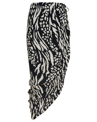 Ari Ruched Animal Print Skirt, BLACK/WHITE, hi-res