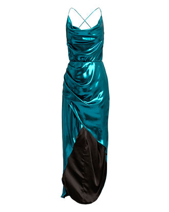 Cowl Neck Metallic Blue Dress, BLUE, hi-res