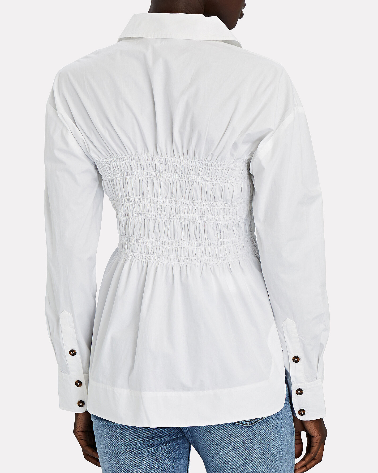 Smocked Poplin Button-Down Shirt, WHITE, hi-res