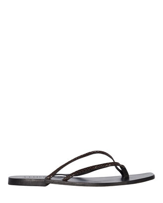 Benni Leather Flip-Flop Sandals, CHOCOLATE SNAKE, hi-res