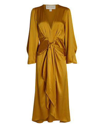 Silk Charmeuse High-Low Dress, YELLOW, hi-res