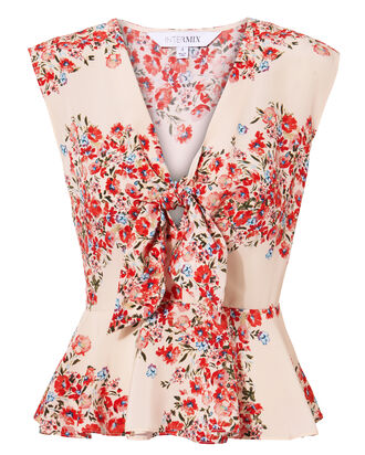 Greer Tie Front Peplum Top, MULTI, hi-res