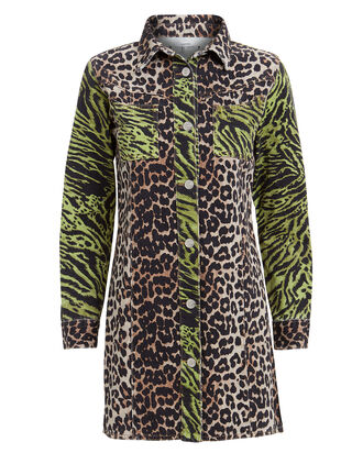 Animal Print Denim Dress, GREEN/BROWN, hi-res